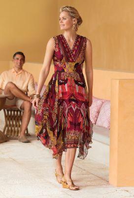 Handkerchief-Hem Smocked-Waist Dress Outfit