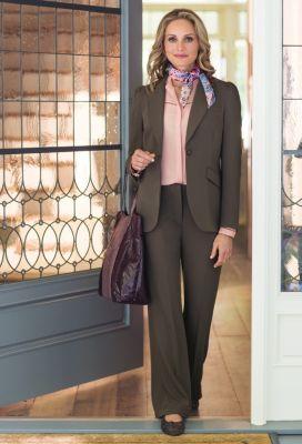 Destination No-Wrinkle Ruched-Shoulder Jacket Outfit