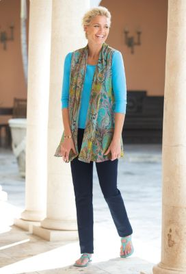 Lucia Paisley Scarf Vest Outfit