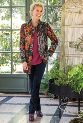 Autumn Leaves Embroidered Jacket Outfit