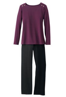 Jet Set Knit Button-Shoulder Boatneck Top Outfit