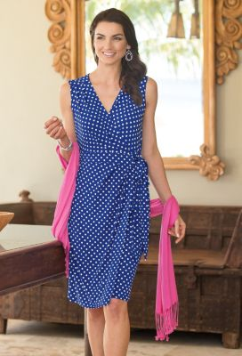 Voyager Knit Sleeveless Faux-Wrap Dress Outfit