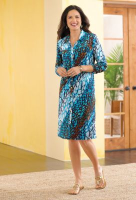 Voyager Knit Print Shirtdress Outfit