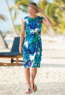 Voyager Knit Tropical Flower Faux-Wrap Dress Outfit