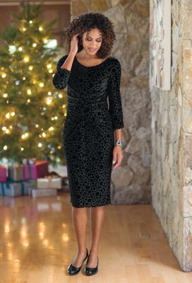 Velvet Polka-Dot Dress Outfit