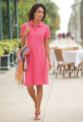 Foxcroft Short-Sleeved Knit Polo Dress Outfit