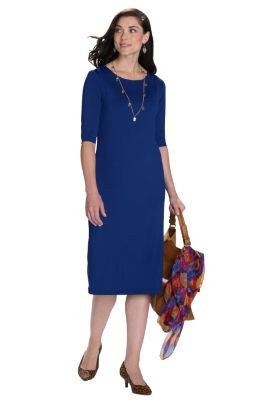 Voyager Knit Slimmer Elbow-Length-Sleeved Dress Outfit