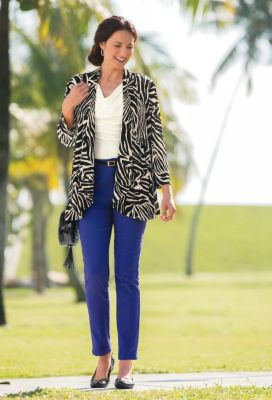 Open-Front Knit Zebra Jacket Outfit