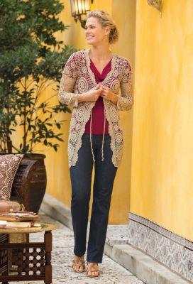 Metallic Crochet Open Cardigan Outfit