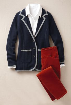 Tipped Sweater Jacket Outfit