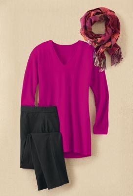 Aimee Elliptical-Hem Sweater Outfit