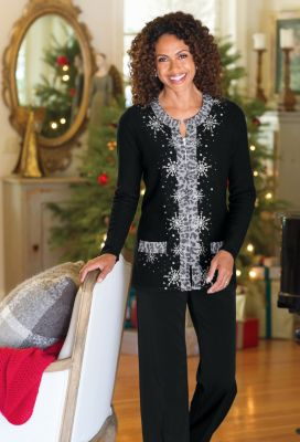 Berek for TravelSmith Beaded Snowflake Sweater Outfit
