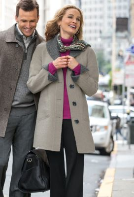 Superfine Alpaca Reversible Button-Front Coat Outfit