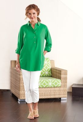 Roll Tab-Sleeved Henley Silk Tunic  Outfit