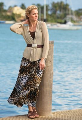 Tiered Safari-Print Skirt Outfit