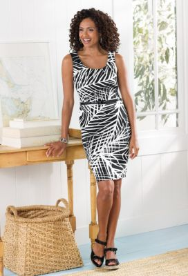 Scoopneck Sheath Dress with Belt Outfit