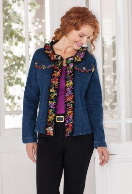 Berek for TravelSmith Multi Denim Ruffle Jacket Outfit