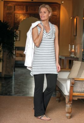 Cowlneck Stripe Tunic Outfit